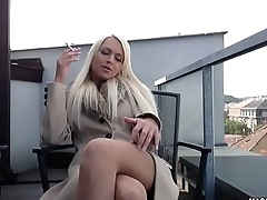 MAGMA FILM Busty blonde German spoil rubs her beautiful pussy