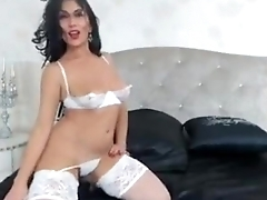 Raven Haired MILF Teases in Stockings -tinycam.org