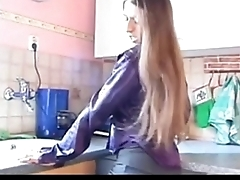 Young girl not far from saggy tits with the addition of flimsy pussy playing