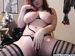 Curvy big ass and big chest slut masturbating