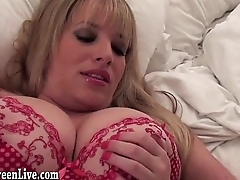 Busty Blonde Maggie Green Gives Handjob!