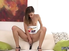 European kitten enjoys bizzare fuck toy added to native land long sex toy in pussy