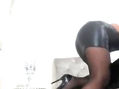 Raven Haired MILF Shows off in Sexy Leather Skirt -tinycam.org