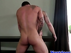 Athletic inked couple fucking until they cum