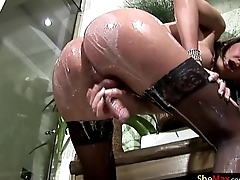Raunchy nightfall darkness tranny in stockings shows off stupendous ass