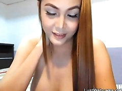 Busty Filipina toys her pussy and ass on cam