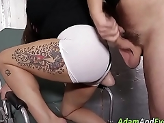 Asian fetish gags on cock