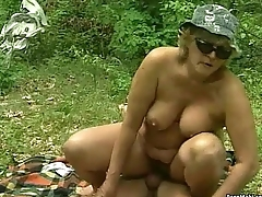 Chubby granny gets pounded outdoor