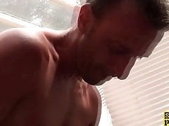 UK sub facefucked after pussyrubbing for dom