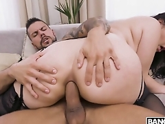 Awesome brunette blows fat cock before anal making out