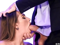 Hot wife in leather serving-man blows hubby in the office