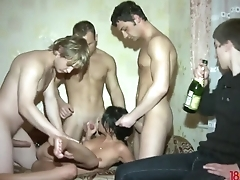 Happy cuckold watches his GF alluring several dicks