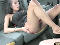 Brunette slut sucks drivers big dick to get a free ride