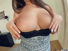 Brunette plays with jugs