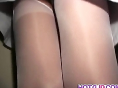 Hitomi Ikeno gets vibrator on hairy pussy through crotchless
