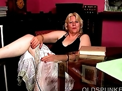 Super cute busty mature blonde BBW fucks her soaking wet pussy