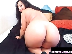 Broad in the beam BBW Brunette Shows Her Ass High Heels Porn