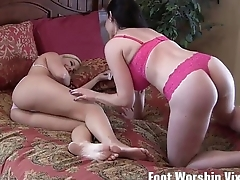 Lorianna sneakily sucks on Shilos toes